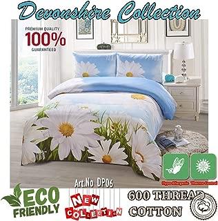 Devonshire Collection 600 Tread Count 100% Cotton 4PCs Bedding Comforter Cover Set. 1 x Zipper Quilt Duvet Cover, 1 x Fitted Sheet, 2 x Pillow Case. European Design Art No:DP06 (Queen)