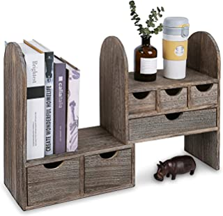 """Ikee Design Large Extendable Wooden Desktop Organizer for Office Supplies, Book Storage Shelf Rack, Stationary Compartment Holder, 13"""" W x 6 1/4"""" D x 16"""" H, Coffee Color"""