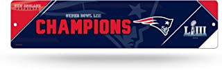 Rico Industries NFL New England Patriots Super Bowl LIII Champions 16-Inch Plastic Street Sign Décor, Blue