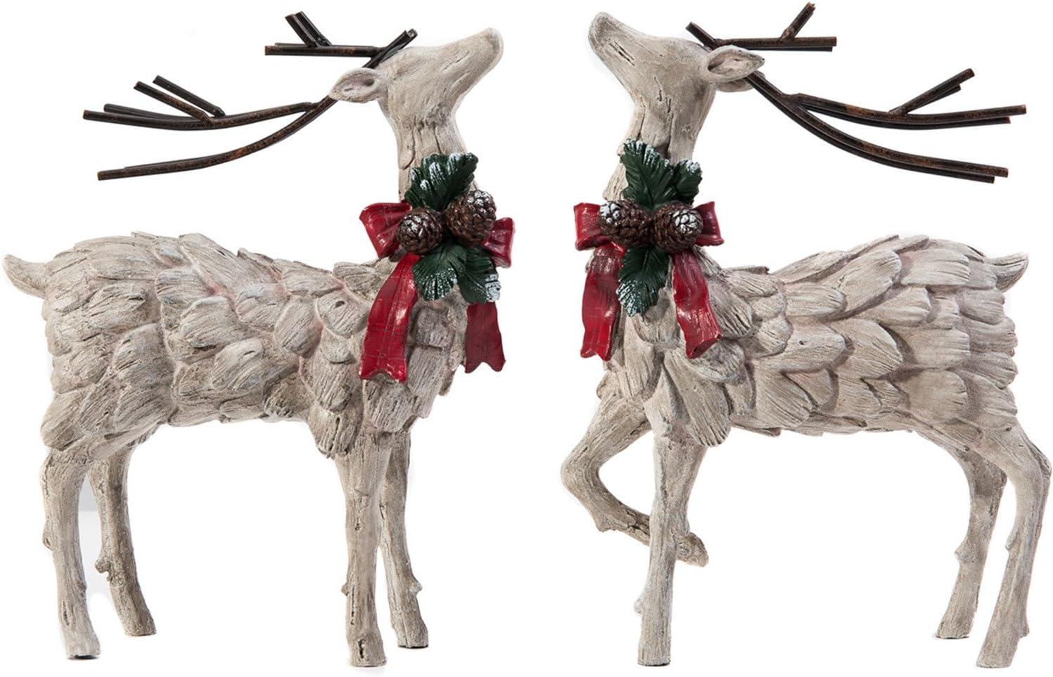 CEDAR HOME Resin Holiday Figurine Decorative Christmas Deer Tabletop Statue Decor, 2 Pack