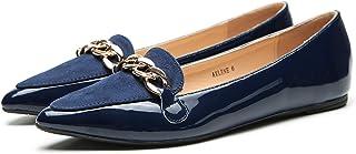 حذاء مسطح من Ashley A Flora أنيق من البولي يوريثان وأصابع مدببة مريح وسهل الارتداء للنساء