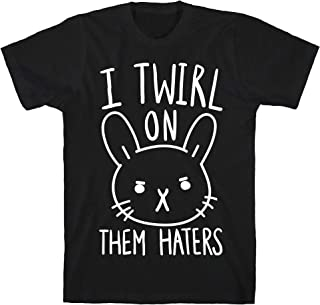 LookHUMAN I Twirl On Them Haters (Bunny) Black Men's Cotton Tee