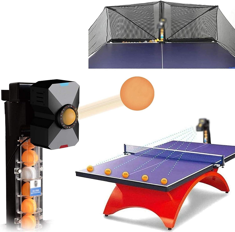 HSY SHOP Robot de Tenis de Mesa Máquina de Entrenamiento de Ping-Pong 9 giros Equipo automático de Entrenamiento de Pelotas de Ping-Pong Lanzador de Pelotas de Ejercicio con Control Remoto con Cable