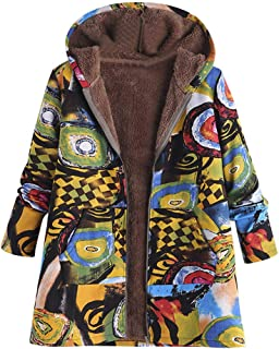 TOPUNDER Plus Size Hooded Long Sleeve Cotton Linen Fluffy Fur Zipper Coat Outwear Women
