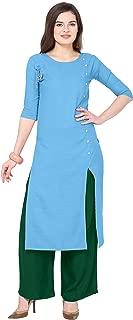 Florence Sky Blue Slub Cotton Embellished Stitched Kurtis with Palazzo(FL-KT-124-PZ-08)
