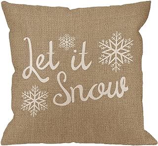 HGOD DESIGNS Throw Pillow Cover Let It Snow Snowflake Cotton Linen Cushion Cover Pillowcase for Men Women Home Decorative Sofa Armchair Bedroom Livingroom 18 x 18 inch