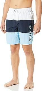 Nautica mens Quick Dry Classic Logo Tri-block Series Swim Trunk Swim Trunks