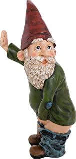 """Best Bella Haus Design Peeing Gnome - 10.3"""" Tall Polyresin - Naughty Garden Gnome for Lawn Ornaments, Indoor or Outdoor Decorations - Red and Green Funny Flashing Gnomes Review"""