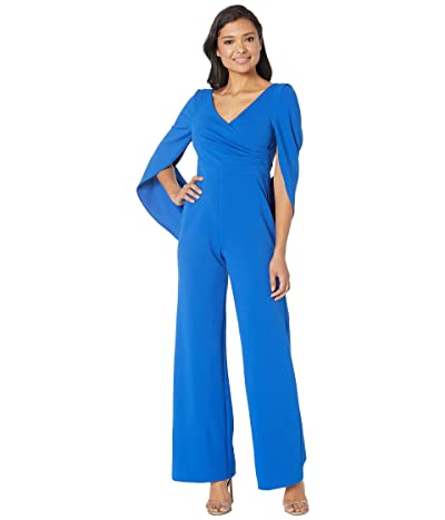 Adrianna Papell Knit Cape Back Jumpsuit (Moroccan Blue) Women