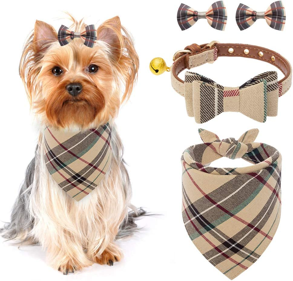 PUPTECK Ranking TOP19 Bow Tie Dog Collar with Tri Classic Plaid Bell Bandana SALENEW very popular -