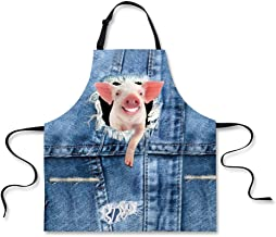 Apron,Funny Design Grill Waist Cloth for Men Women Grilling Gifts Pig Print