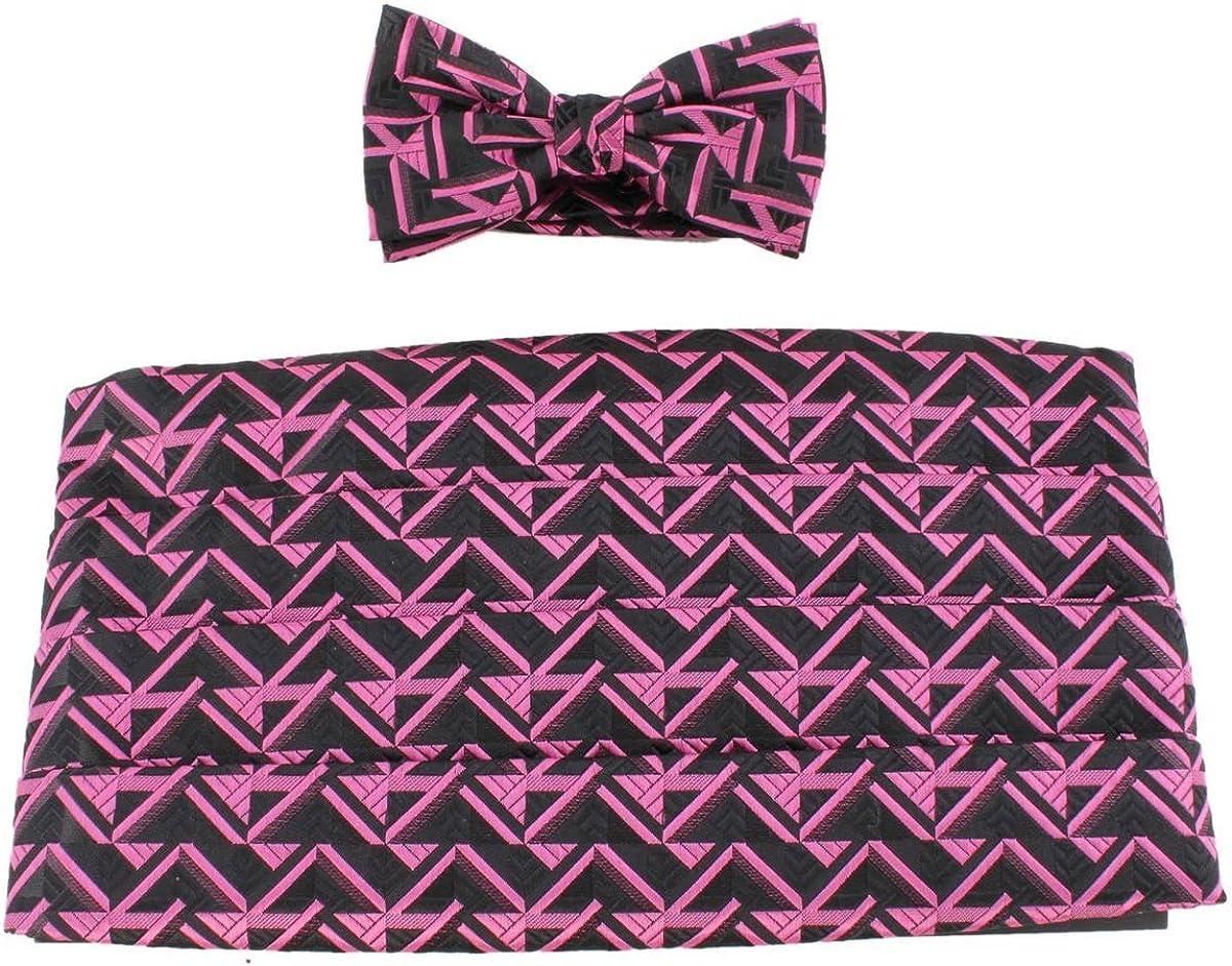 Knightsbridge Neckwear Mens Bow Tie and Cummerbund Set - Black/Pink