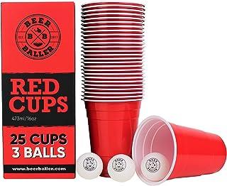 BeerBaller® Original Red Cup – Lot de 25 gobelets rouges et 3 balles de pong   473 ml – Gobelets rétro américains pour vos...