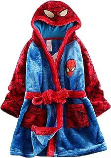 LINLIN Los niños del Hombre araña camisón Unisex de una Sola Pieza Pijama de Halloween del Regalo de la Ropa de Noche del niño con Capucha Franela Sleepsuit,Blue- kids/100~110cm