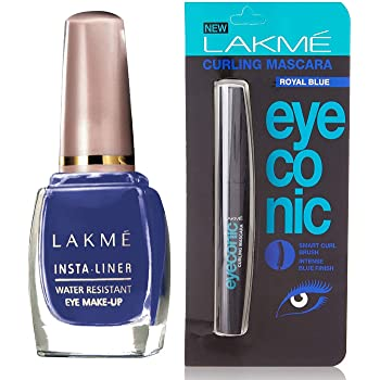 Lakmé Insta Eye Liner, Blue, 9 ml & Lakme Eyeconic Curling Mascara, Royal Blue, 9ml