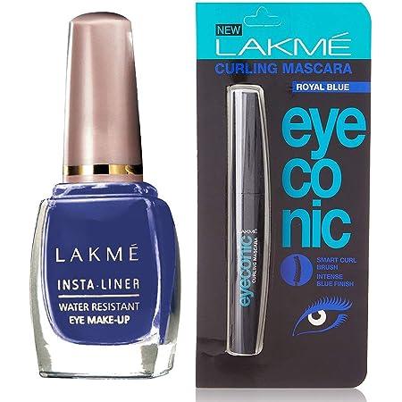 Lakmé Insta Eye Liner, Blue, 9 ml And Lakmé Eyeconic Curling Mascara, Royal Blue, 9ml