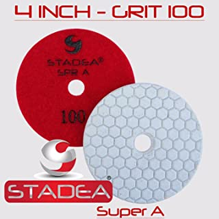 Stadea DPPD04SPRA100G1P Dry Stone Diamond Polishing Pad for Stone Granite Concrete Glass Travertine Marble Sanding Polishing with 4-Inch Grit 100