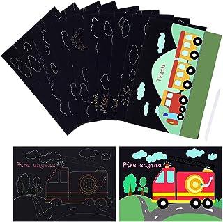 MELLIEX 10 Pièces Dessin Gratter pour Enfants, Thème à Motifs Tableaux à Gratter Dessins à Gratter Arc-en-Ciel Scratch Art...