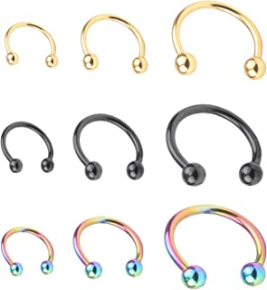 RJ Surgical Stainless Unisex 16G LipNoseNippleEyebrown Captive Hoop Ring Barbell Tragus Cartilage Stud Earrings 3mm Ball & Spike 3 Size 9pcs
