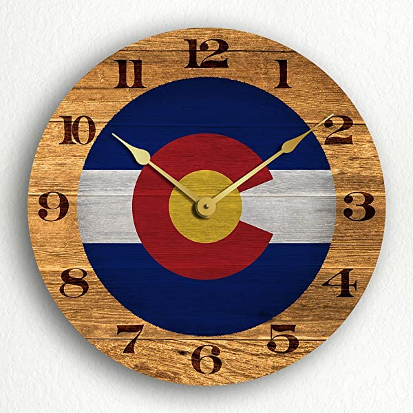 Colorado State Flag Traditional Style 12 Silent Wall Clock