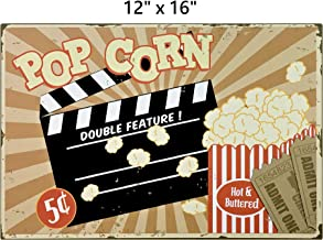UNiQ Designs POPCORN Cinema Decor Media Room Decor Tin Signs Theater Sign - Movie Room Decor Accessories - Film Decor - Home Movie Theater Decor - Movie Reel Wall Decor - Vintage Movie Decor 12x16