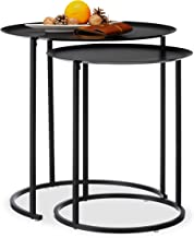 Relaxdays Set of 2 Round Side Tables for The Living Room, Elevated Edge, Steel Frame, HxD: 50x50 cm, Anthracite