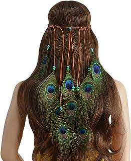 Ssowun - Cinta para el pelo, estilo bohemio, con plumas indias, para fiestas, playa, fotografía