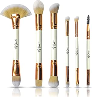 6 Pc Double Ended Makeup Brushes in Luxe White and Rose Gold | Professional and Soft with Wooden Handles | Blush, Eyeshadow and Foundation Brush Set | Great for Travel and Home Makeup Kit