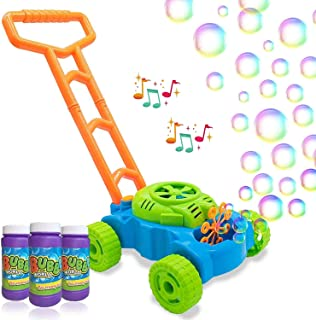 Mumfactory Bubble Mower for Toddlers, Kids Bubble Blower Machine Lawn Games, Outdoor Push Toys, Birthday Gifts for Prescho...