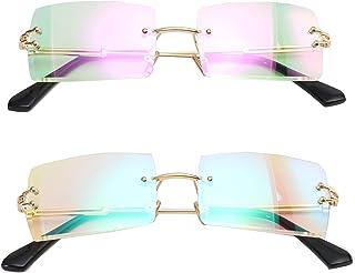 نظارات شمس صغيرة من مينكلا/عصرية بتصميم مستطيل للنساء بألوان خفيفة للغاية بدون إطار بلون المحيط نظارات شمسية
