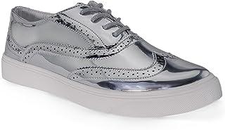RF ROOM OF FASHION Women's Wing Tip Saddle Lace up Platform Oxford Flats - Trendy Flatform Shoes