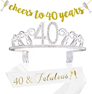 40th Birthday Decorations Party Supplies - 40th Birthday Gifts for Women,40 Birthday sash | Banner | Crown | Cake Topper. (40)