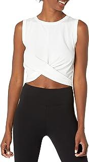 Core 10 Playera sin Mangas para Yoga, Mezcla de algodón Pima con Nudo Frontal, Cortada Camiseta de Yoga para Mujer