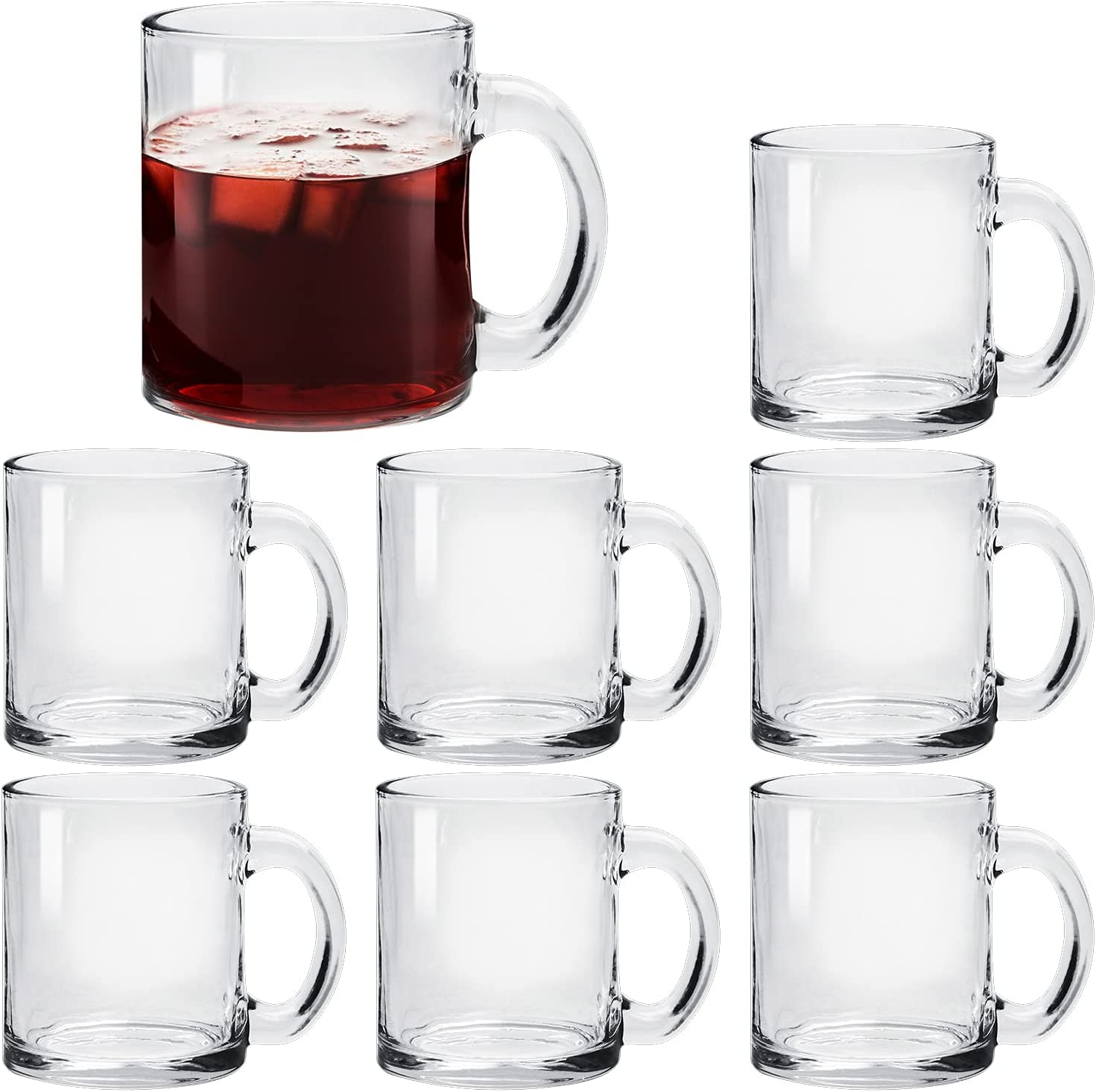Glass Coffee Sale item Mug Set 8 Pack 12 Convenient with Handle specialty shop Ounce