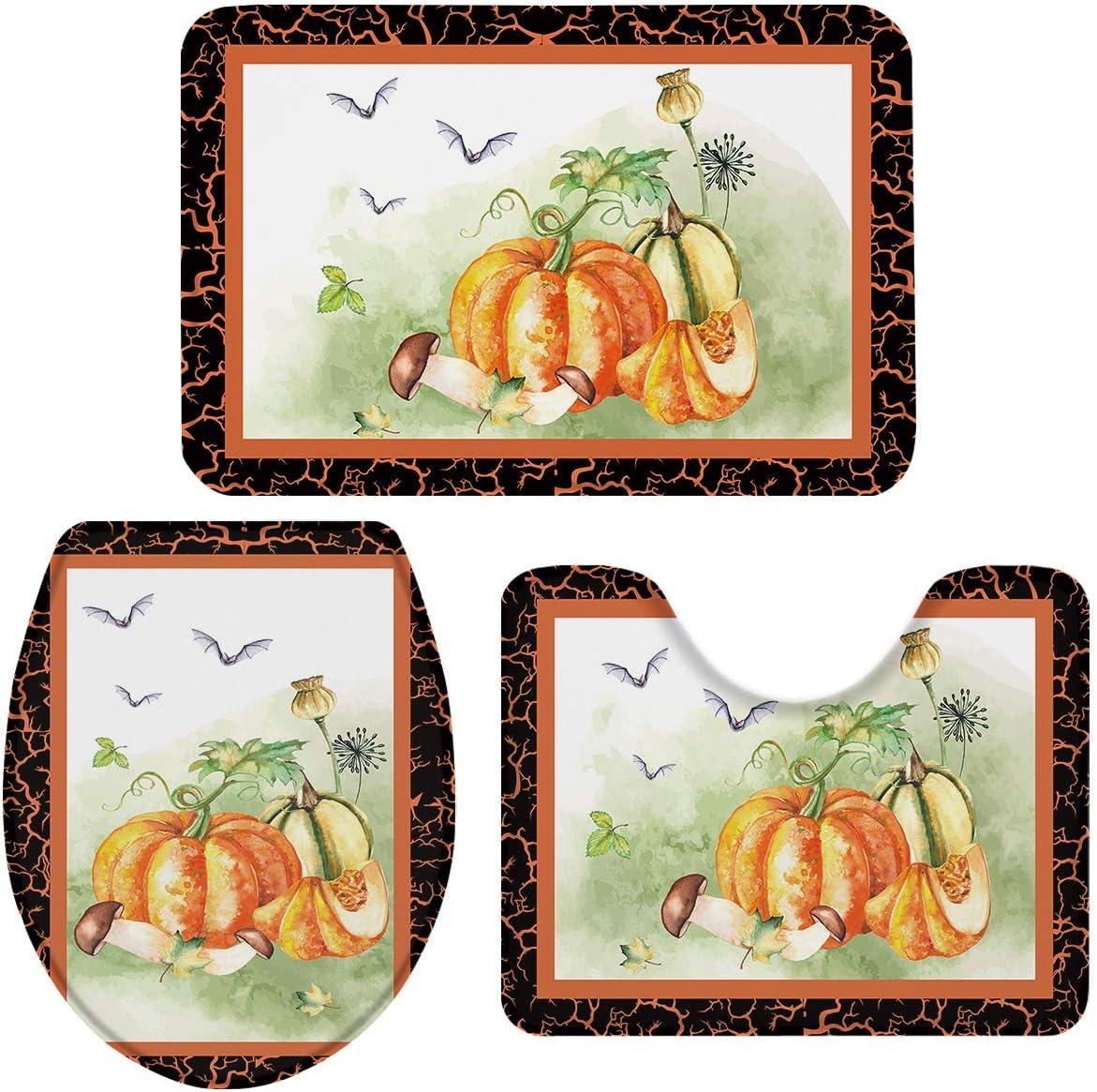 OneHoney Farm Cheap mail order shopping Pumpkin Bats 3 Max 66% OFF Pieces Mats Set Bath and Rugs Non