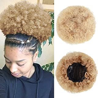 Afro Puff Drawstring Ponytail for Black Women Short Curly Synthetic Hair Bun Extension,Updo Ponytail Hair Piece with Two Clips(T27/613#)