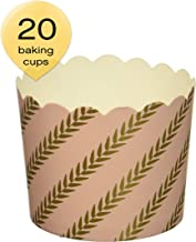 Simply Baked CLG-140 Disposable and Oven-Safe Baking Cups, Large, Pink Gold Leaf