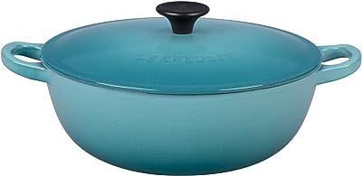 Le Creuset L2574-1817 Enameled Cast Iron 1 1/2qt. Soup Pot, Caribbean, 1.5 qt