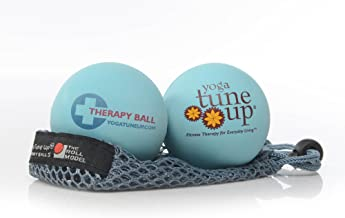 Yoga Tune Up Jill Miller's Therapy Balls Pair with Mesh Tote, Aqua Blue