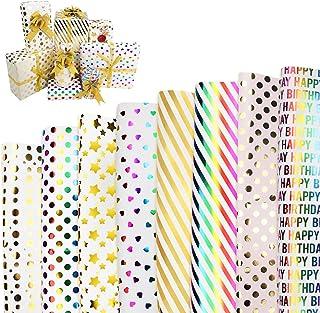 Xiangmall 8 Pièces Papier Cadeaux 70 x 50 cm Papier Emballage Cadeau pour Enfant Femme Homme Anniversaire Noël Mariage Vac...