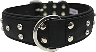 Genuine Leather Tooled Dog Collar   Handmade Collar   Rhinestone Collection   Perfect for Medium, Large and XL Dog Breeds...