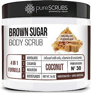pureSCRUBS Premium Organic Brown Sugar COCONUT FACE & BODY SCRUB Set - Large 16oz, Infused With Organic Ess...