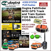 Dogtra 4 Dog Pathfinder Mini GPS Track and Train System for Smaller Breed Dogs GET 2 Free Replacement Strap and Flea Comb