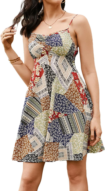 YOINS Women's Summer Casual Dresses Spaghetti Strap Floral Print Backless Mini Dress Ruffle Short Dress