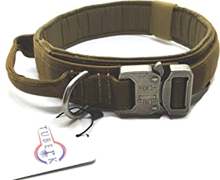 Tuberk Tactical Dog Collar, Military Training Control Handle, Adjustable, Velcro Area, Naylon Dog Collar