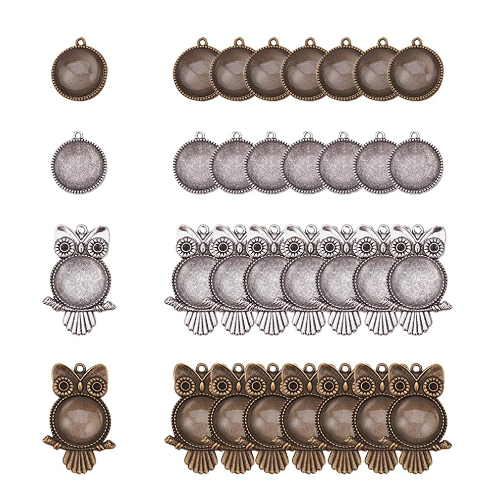 PH PandaHall 32pcs Tibetan Alloy Owl Round Pendant Trays Blank Bezel with 32pcs 20mm Round Clear Glass Cabochon Dome Tiles for Crafting DIY Jewelry Making