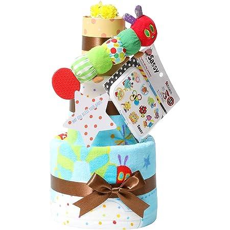 はらぺこあおむし おむつケーキ 出産祝い 名入れ刺繍 3段 Sassy ビタット Bitatto 身長計付き バスタオル ブルー 男の子 オムツケーキ ERIC CARLE エリックカール パンパーステープタイプSサイズ