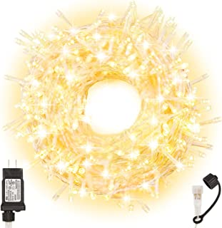 JuxunMas 300 LED Christmas Clear String Light 108 Feet 4 Sets Connectable, UL Certified with 8 Modes Fairy Lights for Christmas Tree Wedding Party Indoor Outdoor, Warm White