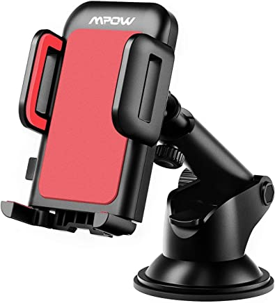 Mpow Car Phone Mount, Dashboard Car Phone Holder, Washable Strong Sticky Gel Pad with One-Touch Design Compatible iPhone Xs,XS MAX,XR,X,8,8Plus,7,7Plus,6,6Plus, Galaxy S7,8,9,10, Google Nexus, Red