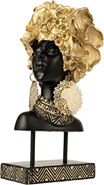 YINASI African Woman Head Statue, Creative Handcrafted Tabletop Decorations with Gold Flowers and Earrings, Collectible Sculp